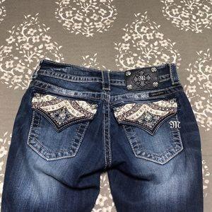 Miss me 26 embellished jeans 26x30 hemmed dark